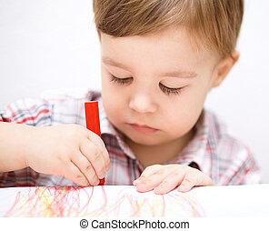 garçon, peu, papier, blanc, dessin