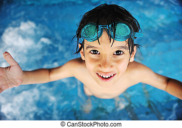 garçon, peu, piscine, natation