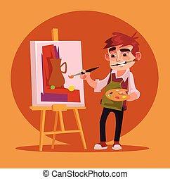 garçon, peu, plat, artiste, caractère, illustration, dessin, vecteur, picture., sourire, dessin animé, heureux