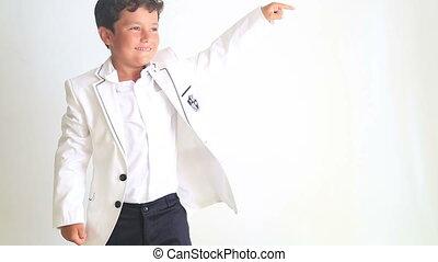 garçon, peu, pointage, danse