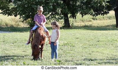 garçon, peu, poney, girl, heureux