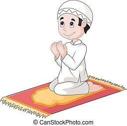 garçon, peu, prier