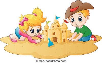 garçon, peu, sandcastle, confection, girl, plage