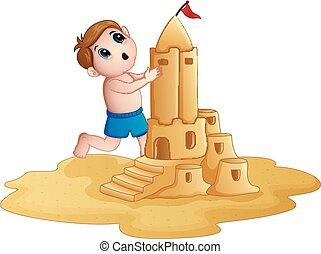 garçon, peu, sandcastle, grand, confection, plage