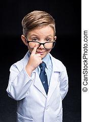 garçon, peu, scientifique
