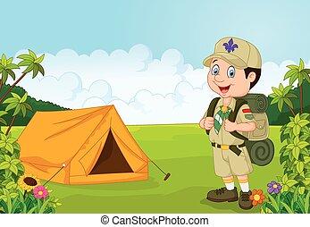 garçon, peu, scout, dessin animé, tente
