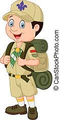 garçon, peu, scout, dessin animé