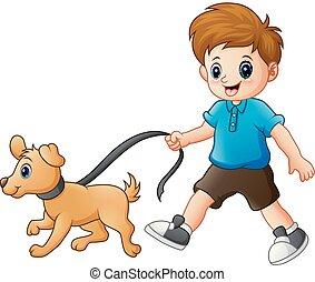 garçon, peu, sien, chien marche