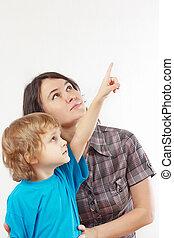 garçon, peu, sien, haut, main, fond, mère, blanc, spectacles