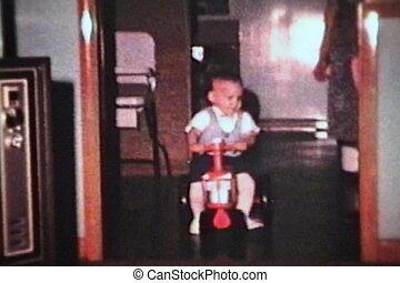 garçon, peu, sien, krach, 1964, tracteur