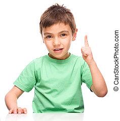 garçon, peu, sien, pointage, indice, haut, doigt, ...
