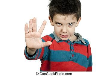 garçon, peu, sien, projection, arrêt, main