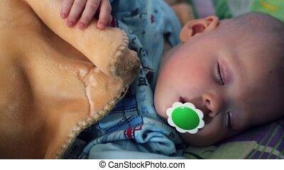 garçon, peu, sien, très, dormir, sensible, crib.