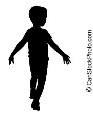 garçon, peu, silhouette