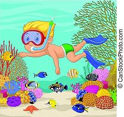 garçon, peu, snorkeling