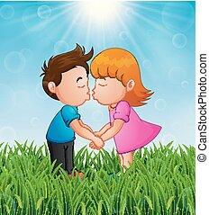 garçon, peu, soleil, clair, fond, baisers, girl, herbe, dessin animé