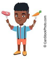garçon, peu, steak., carotte, tenue, africaine, frais
