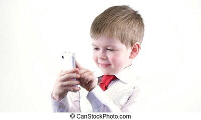 garçon, peu, téléphone