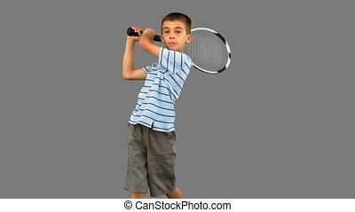 garçon, peu, tennis, gris, s, jouer