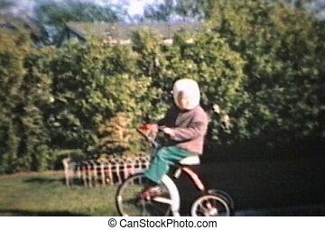 garçon, peu, tricycle, 1964, nouveau, promenades