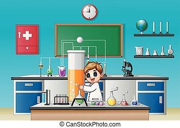 garçon, peu, tube, laboratoire, chimique, tenue, essai