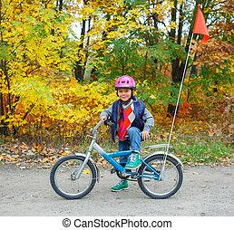 garçon, peu, vélo