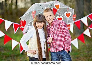 garçon, peu, valentine, style, décor, portrait, girl, jour
