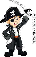garçon, pirate, dessin animé