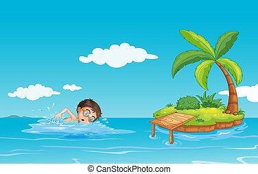 garçon, plage, natation