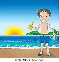 garçon, plage sable, fond