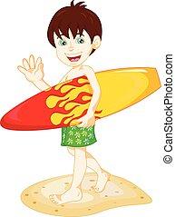 garçon, planche surf, surfeur