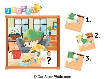 garçon, plancher, puzzle, morceaux denteux, nettoyage