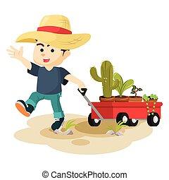 garçon, plante, entiers, traction, charrette