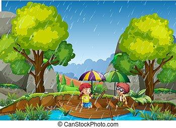 garçon, pluvieux, parc, girl, jour