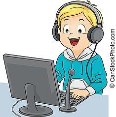 garçon, podcast, illustration ordinateur, gosse
