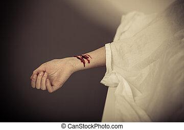 garçon, poignets, saignement, mort, fente, morgue