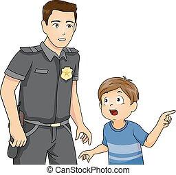 garçon, police, illustration, rapport, homme, gosse
