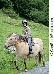 garçon, poney, équitation