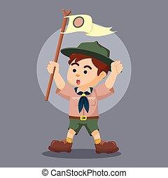garçon, poteau, scout, hurlement, tenue