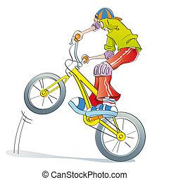 garçon, pratiquer, vélo, pirouettes