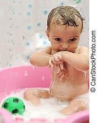 garçon, prendre, bain, cheveux, mousse de savon, bébé, adorable, savon