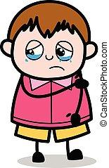 garçon, pris victime, -, graisse, vecteur, illustration, pleurer, dessin animé, adolescent
