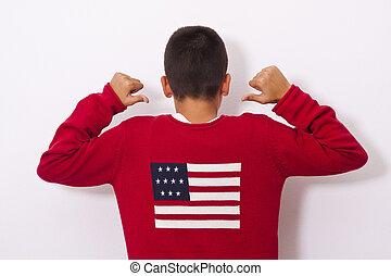 garçon, projection, drapeau, américain