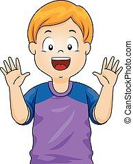 garçon, projection, mains