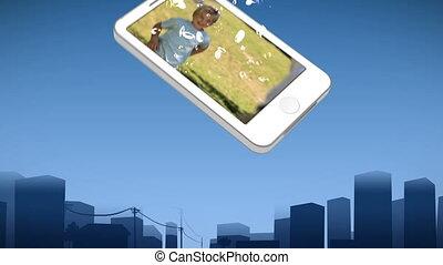 garçon, projection, smartphone
