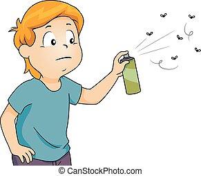 garçon, pulvérisation, gosse, insecticide