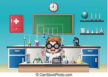 garçon, recherche, scientifique chimique, verrerie laboratoire