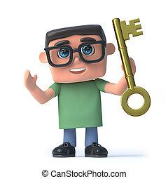 garçon, reussite, or, tient, clã©, lunettes, 3d