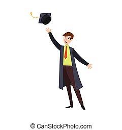 garçon, robe, lancement, casquette, haut, remise de diplomes, étudiant