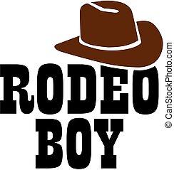garçon, rodéo, chapeau, cow-boy